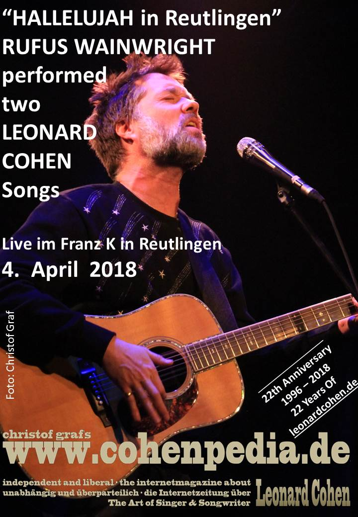 kw 13 2018 hallelujah in reutlingen rufus wainwright performs a fabolous gig including two. Black Bedroom Furniture Sets. Home Design Ideas