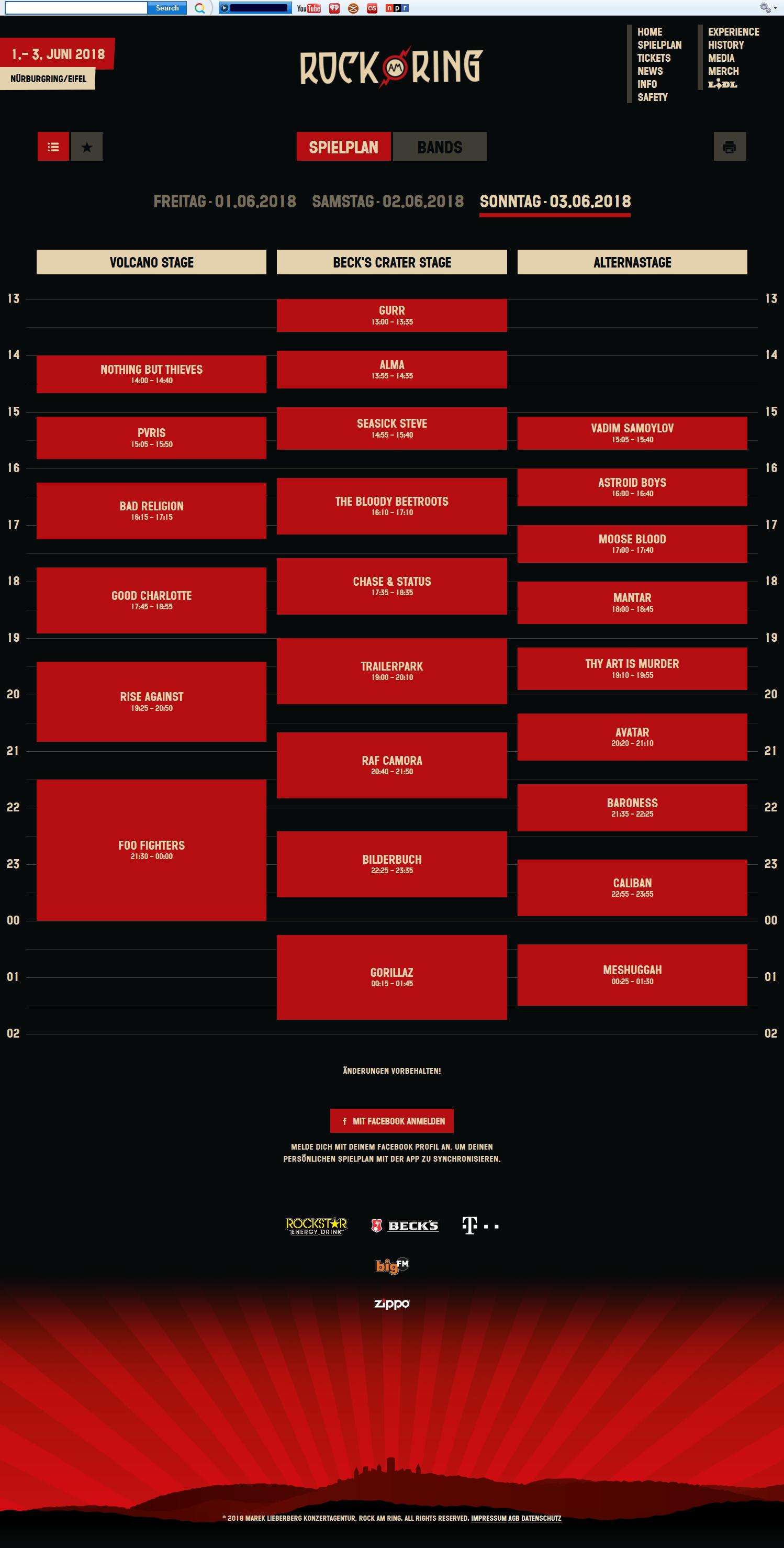 Rock Am Ring Spielplan Sonntag